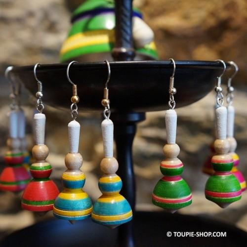 Boucles d'oreilles Bijou en Bois Bigouden Artisanal Toupie-Shop Magasin de Jouet Toupies