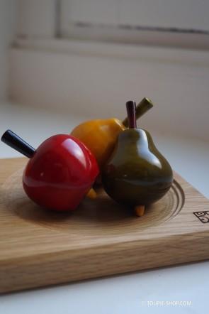 Collection 3 Toupies en Bois Fruits Jouets Avec Plateau Jeux Enfant Cadeau Adulte Deco Toupie Shop Boutique Jeu Magasin Jouet