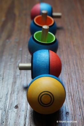 Toupies Bois Pirouette Bicolore Toupie qui se redresse retourne Jouet Noel Jeux Anniversaire Enfant Adulte Toupie Shop