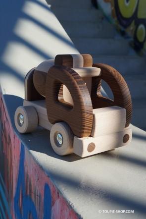 Ecolo Jouet en Bois Fabriqué en Europe Camion Toupie Jeux de Voiture Enfant Cadeau Original Toupie Shop Boutique Jouets Toupies