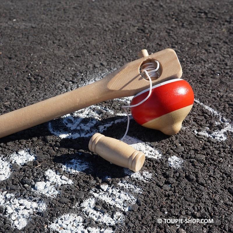 Tricolore toupie ficelle jeux bois avec lanceur jouet - Toupie a bois ...