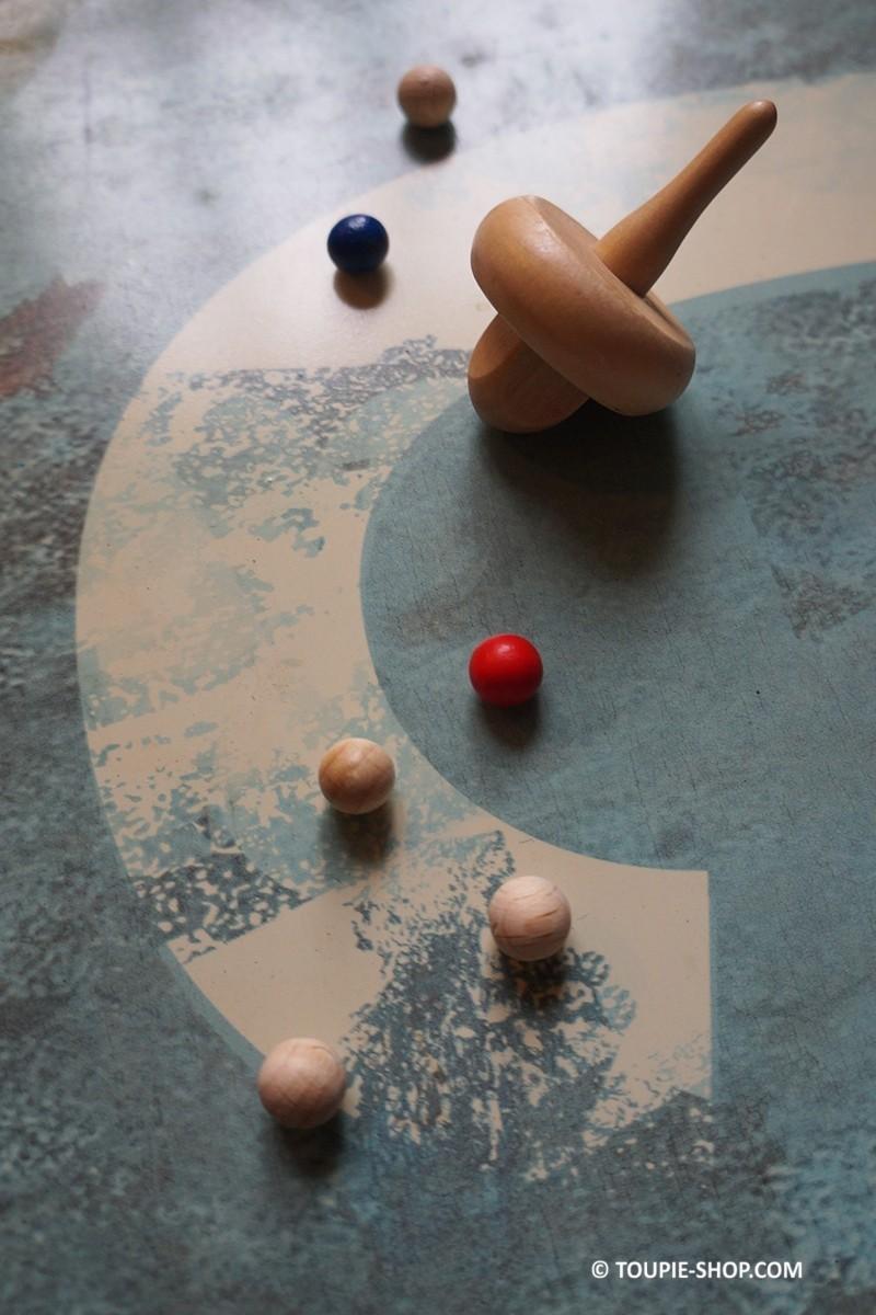 recharge jeux toupie avec billes jouet en bois virolon la roulette. Black Bedroom Furniture Sets. Home Design Ideas