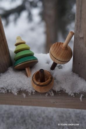 Collection de Toupies 3 Jouets en Bois Artisanal Toupie qui se retourne Original Jeu Toupie Shop Magasin Jouet Bois Jeux Adulte