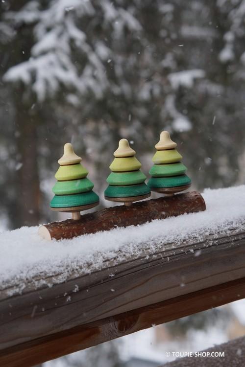 Forêt de Sapins Jeux de Toupie en Bois Jouet Déco Noel Cadeau Original Toupie Shop Magasin Jouets Toupies