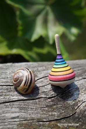 Petit Jouet Rainbow Arc en Ciel Mini Toupie en Bois Artisanal Cadeau Original Toupie Shop Magasin Jouets Jeux en Bois