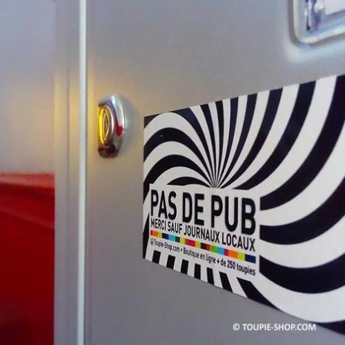 Auto-collant PAS DE PUB Sticker Résistant en extérieur Jeux Toupie Shop Magasin Jouets Spécialisé Toupies
