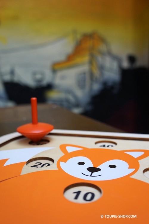 Fox Jeu en Bois pour Enfant Toupie Avec Plateau Collection Jeux Boutique Toupies Magasin Jouets Toupie Shop