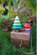 Boîte à musique avec 2 Jeux de Toupies en Bois Cadeau de Noël