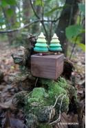 Boîte à Musique en Bois avec 2 Jeux de Toupies Sapins Noël