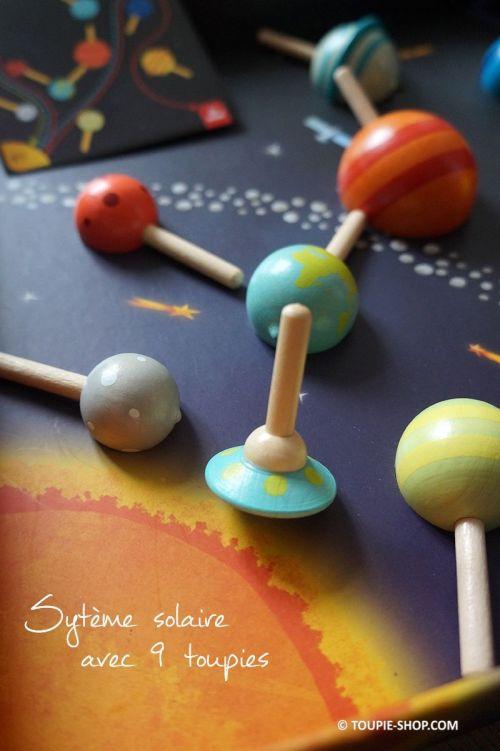 Toupies en Bois Planetes Vaisseau Spatial Systeme Solaire Jeux Educatifs Plateau Toupie Shop Magasin Jouets Achat Jeu Enfant