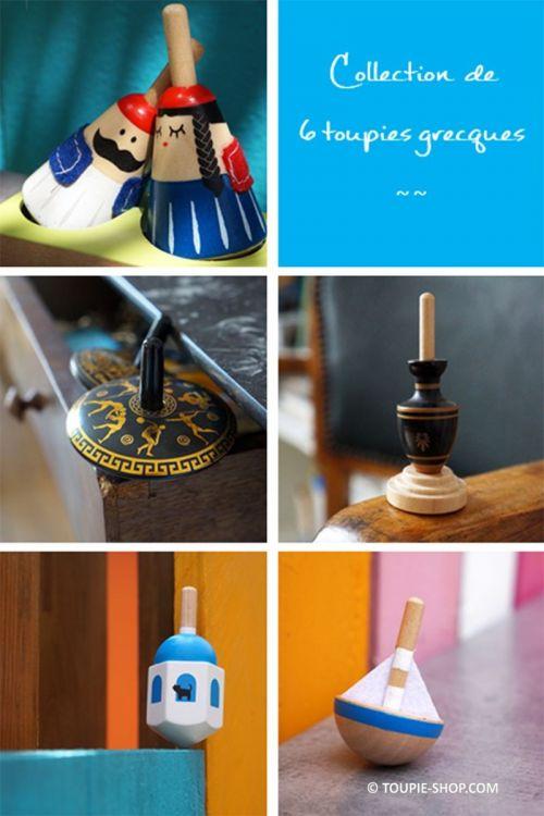 Collection de 6 Toupies Grecques Jouets en bois Jeux en métal Cadeau Souvenir Culturel Grece Toupie Shop Magasin Jouet Original