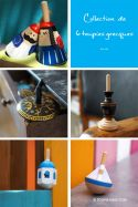 Collection de 6 Toupies Grecques Jouets en bois et métal