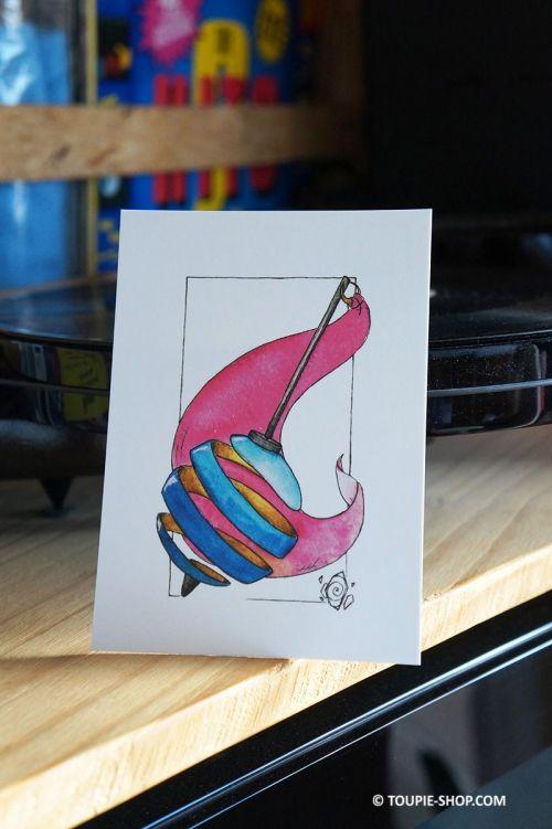 Carte Postale Voeux Anniversaire Noel Cadeau Dessin Illustration Aquarelle Collection Toupie Shop Magasin Jouets Jeux Toupies