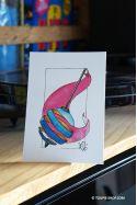 Carte Postale Dessin Toupie Illustration à l'Aquarelle - les 3