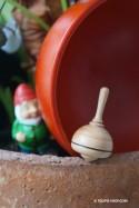 Mini Toupie Classic' Jeu en Bois Naturel Avec Fiole en Verre