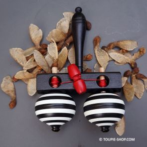 Double Toupie Spinning Wooden Toy Handcrafted Creation Made in Europe Game Shop Store Gift Collection Toupie-Shop.com