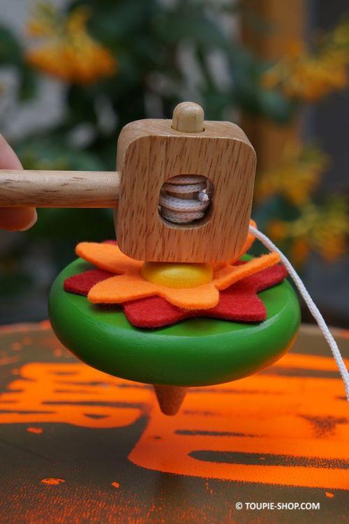 Comment faire tourner une toupie avec ficelle fil corde Jeux Enfants Jouet Vintage Fleur Cadeau Toupie Shop