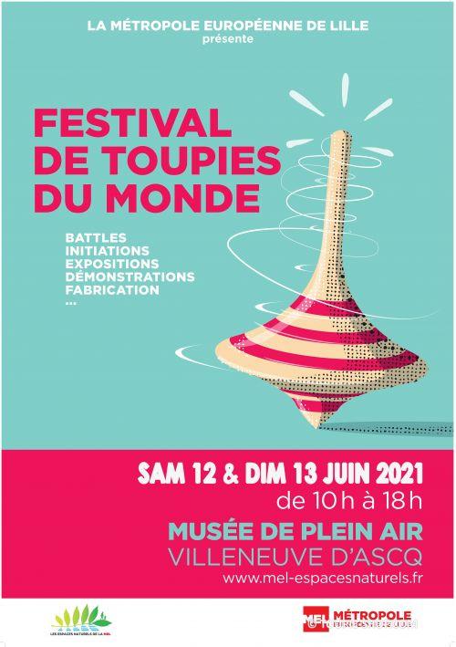 Affiche Festival des Toupies du Monde 12-13 juin 2021 Demonstration jeux exposition fabrication jouet toupie tourneur sur bois