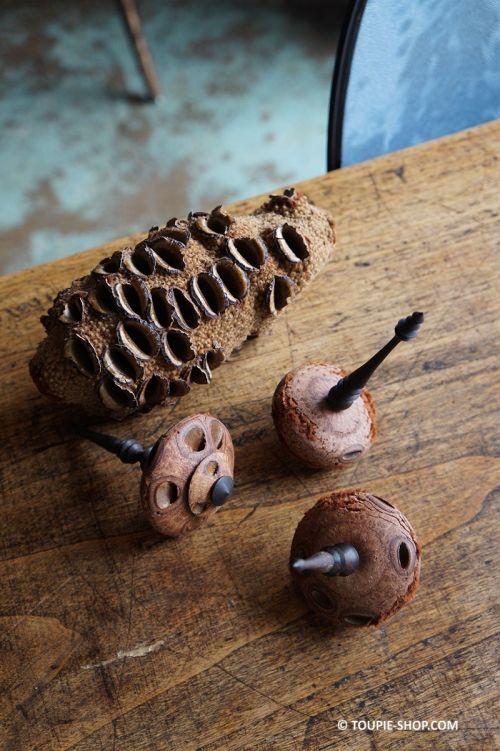 Toupirate Toupie Noix Banksia Bois Ebene Jeux Made in France Cadeau Original Toupie Shop Boutique Jouet Bois Artisanat