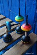 Colibri Jeux de Toupie en Bois avec Support Artisanat