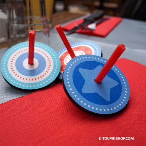 Toupie Bleue et Rouge Jeux en Bois Enfant Jouet Eveil Pas Cher Peche a la ligne Anniversaire Animation Toupies Acheter
